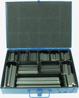 Abbildung des Sortimentskasten Passfedern DIN 6885A C45 +C, Koffer aus Metall mit Hammerschlaglackierung in blau