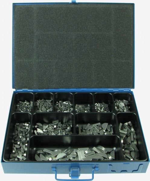 Abbildung des Sortimentskasten Scheibenfedern DIN 6888 C45 +C | ISO 3912, Koffer aus Metall mit blauer Hammerschlaglackierung