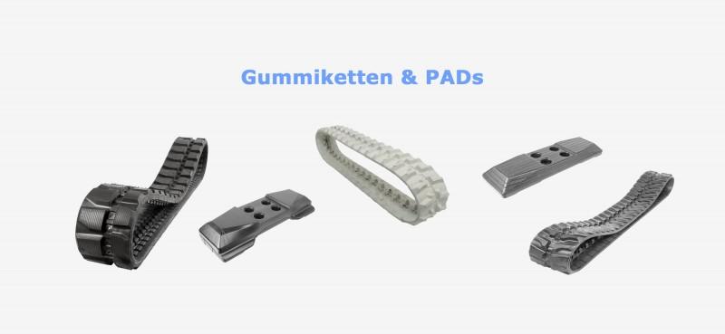 Gummiketten, Baggerketten und PADs der Marken Bridgestone, DRB und Tagex. Markenqualität zu Bestpreisen!