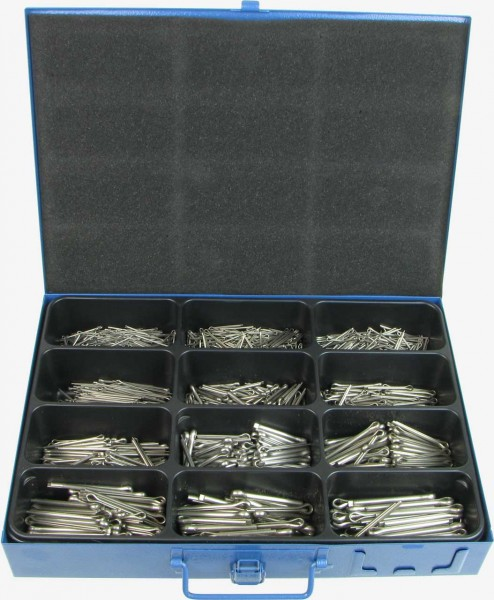 Abbildung Sortimentskasten Splinte nach DIN 94 Edelstahl A2 | ISO 1234